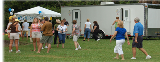 Festival using portable restrooms trailer, portable shower trailer and ADA toilet trailer