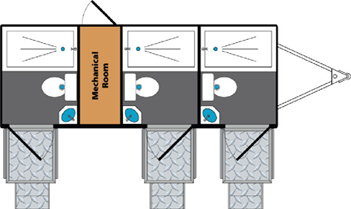 Three-Stall Shower Unit Layout