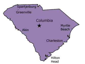 South Carolina Aiken, Beaufort, Charleston, Clemson, Columbia, Florence, Greenville, Myrtle Beach, Spartanburg, Hilton Head in South Carolina (SC)